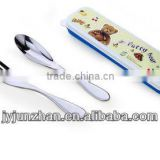 Promotion cutlery spoon fork chopsticks sets with nicely design and plastic box packing with food certificate safe-using