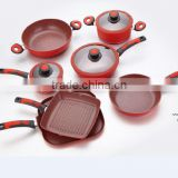10pcs red cookware sets with removable handle/grill pan,fry pan