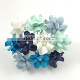 Blue White, Small Handmade Mulberry Paper Flower, Wedding Party, Scrap-booking Crafts Pastel