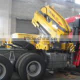 steyr tractor head mounted 5ton crane(with low bed semi trailer)contact Mr. Tom song king 24 hours phone:TEL:+8615271357675