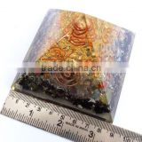 Orgonite Mix Chakra Stone Crystal Black Tourmaline Pyramid With 4 SBB Coil Charged Crystal Point