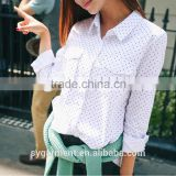 Women's fashion white color shirt ladies blouse latest design for women