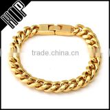 Gold 10mm Miami Cuban Chain Bracelet For Men