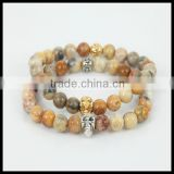 kjl-cst 114 Fashion silver and gold skull head men bracelet charm natural Indian agate round stone bead women bracelet