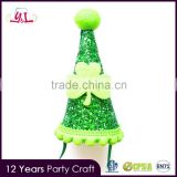 Novelty 2016 St. Patrick's Day First Birthday Miniature Glitter Party Cone Hat/Headband felt hat cone