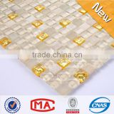 ZTCLJ JTC-1305 Alkaliproof Waterproof Glass Mix Stone Golden and Crystal Kitchen Backsplash Tiles Lowes Crystal Mosaic