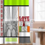 New York Bridge Panel Printing Printed Shower Curtain Polyester