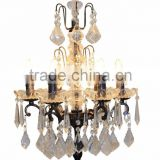 IC6035-6 Antique Black with Gold Spots Crystal Table Lamp French Style Wrought Iron Chandelier