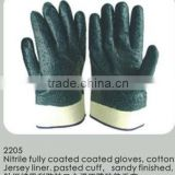 Blue Fully Coated Gloves Open Back Nitrile Glove Sandy Finish Cotton Jersey Liner Woven Liner Safe Cuff Nylon Liner