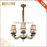 24K Gold Plating Brass 6 Light Baroque Style Chandelier for Home/Hotel/Hall, Porcelain Ceiling Lamp