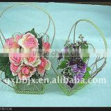 Rectangle wire and bead flower decorations hanging basket decorative with green pearl