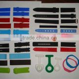 Silicone wristband for various styles of watch