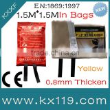 0.8 mm 1.5M*1.5M Yellow heat thermal insulation fire rated glass wool blanket in soft bags