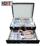 Fashion black leather suitcase New arrival 84pcs 18/8 stainless steel cutlery set wholesale alibaba china
