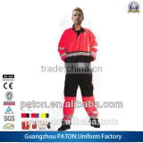2014 Hot Sell Red And Black Color Strips Reflective Coverall Uniform With Safety