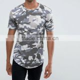 Men'S Custom Camo Tshirt Longline Curve Hem Blank Sublimation T Shirt Wholesale