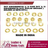 Golden Color 12 Set Grommets for Leather