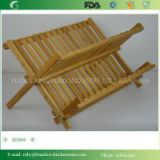 BH006/ Kitchen Bamboo Folding Ceramic Folding Plate and Glass Cup Dish Drying Rack