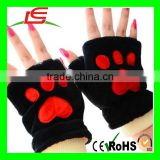 Lovely Soft Plush Bear Paw Half Finger Mittens Winter Warm Fingerless Thick Fleece Gloves for Girls Birthday Xmas Gifts