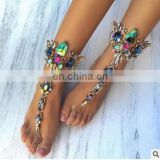 Vintage Punk Fashion Jewelry Hot Multicolor Crystal Rhinestone Boho Anklet Metal Maxi Bracelet Foot Chain Beads Luxury Anklets