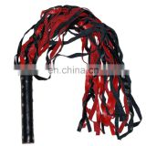 HMB-507A LEATHER FLOGGER SOFT TAILS WHIPS BLACK RED BULLWHIP