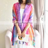 Cotton polyester colorful cappa paisley with four sides of flower tippet wedding/evening party capes shawl