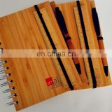 natural genuine bamboo spiral 70sheets notebook orgnizer set with bamboo ball pen and ruler