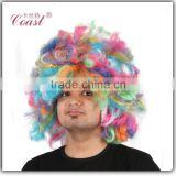 cheap synthetic rainbow kinky color big afro clown wig