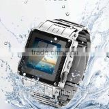 High quality Stainless Steel waterproof Bluetooth watch phone with Camera &MSN&Java&MP4&GPRS&FM W818 Smart Watch