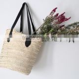 High quality best selling Natural seagrass shopping bag with leather handles from vietnam