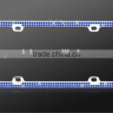 License Plate Frame - Metal Bling - Chrome w/ Blue Sparkling Crystals - Triple Row