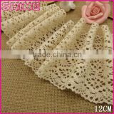 "Factory Wholesale Cheap Big Non-Elastic 4.9"" Creamy White Crochet Cotton Lace Garment Trim"