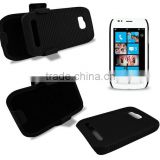 2 Parts Snap-on Hard Rubberized Slide Case with Swivel Belt Clip Holster for Nokia Lumia 710 with kickstand function