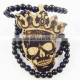Good quality Hip-hop skull king wood Pendant Bead Chain Necklace