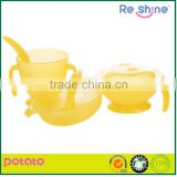 Yellow microwave avaliable safe PP plastic tableware set for baby