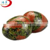 Christmas ornament natural Unakite stone carving eggs for home decoration for sale