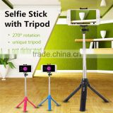 2016 New bluetooth selfie stick with tripod,integrated camera tripod shutter remote control,mobile phone holder for photography