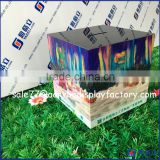 High clear acrylic cube money raising box with sign holder, mini plastic acrylic charity donation box