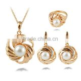 2015 new European and American fashion jewelry wholesale trade retro big diamond earrings pearl necklace suit three sets of ring