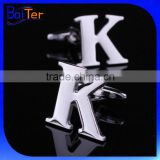 A-Z Wholesale Stainless Steel Silver Alphabet Cufflinks/316L Stainless Steel Cufflink Findings/Double Initial Cufflinks