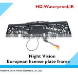 IR,waterproof licence plate camera for factory, black Europe car camera IR,The European license plate frame camera