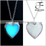 Bear Free Jewelry Glow in the Dark Classic Heart Locket Shaped Pendant Necklace