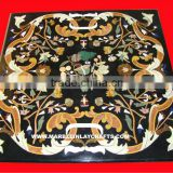 Black Marble Fine Inlay Table Top, Pietra Dura Art Work Marble Table Top