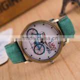 2016 Vintage Fashion watch,lovely bicycle print leather watch jewelry                                                                         Quality Choice