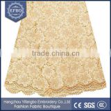 Gold multicolor guangzhou lace fabric durable washable rhinestones embellished lace fabric formal dress cord lace fabric