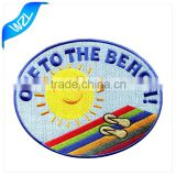 Custom No MOQ Embroidered Textile Fabric Bag Patch/ t shirt iron on patches