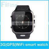 Elegant led touch screen samrt watch leather wrist 3g watch phone android 2015