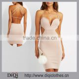 Chic Factory Price Export Sweetheart Neckline Sexy Strappy Cut-Out Bodycon Dress