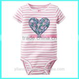 New arrival heart shape baby bodysuits, baby girls heart shape bodysuits,custom printed bodysuits