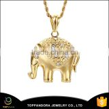 High polish black stainless steel pendant for women, gold elephant pendant